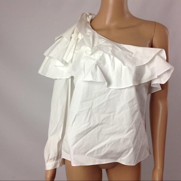 NWT $295 VERONICA BEARD Gigi Ruffle Top White One Shoulder Blouse Womens